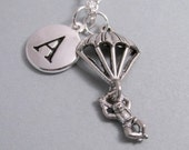 Parachutist Military Airborne Necklace, Parachute Charm, Parachute Keychain, Silver Plated Charm, Initial Charm, Personalized, Monogram