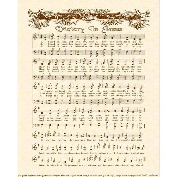 Victory In Jesus 8 X 10 Antique Hymn Art Print By