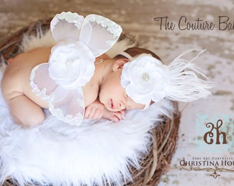 White Clouds Vintage Butterfly Wings & Headband Set Beautiful Photo Prop First Christmas Photos