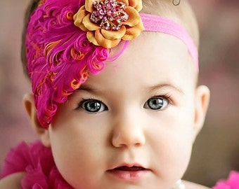 STRAWBERRY CANTALOUPE Hot Pink and Orange Feather Pad Accent with soft flower and Rhinestones Headband Photography Prop