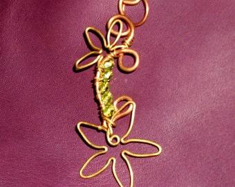 Green Flower Wirewrapped Pendant