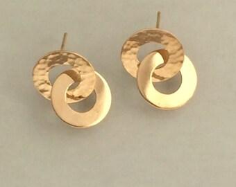 14k Gold Forever Linked Earrings, Handmade in Maine