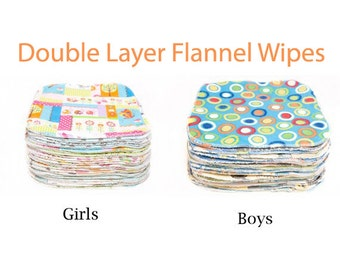 Sweet Bobbins Cloth Wipes Starter Set of 30 wipes -  Double Layer Flannel - 8x8