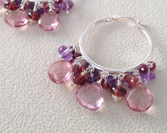 Semiprecious Pink Gemstone Fancy Hoop Earrings in Sterling Silver with Mystic Pink Quartz, Garnet, Amethyst and Rhodolite Garnet