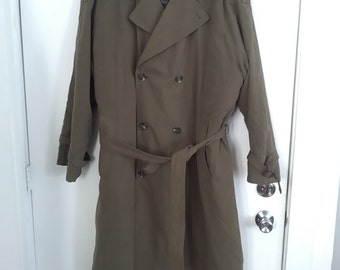 Pierre Cardin olive trench coat lined quilted 42 long 80s 90s raincoat rain coat overcoat winter