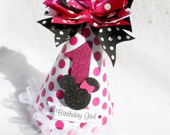 Minnie Mouse Birthday Party Hat in Pink and White Polka Dot