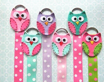 Owl Hair Bow Holder with Polka Dot Ribbon