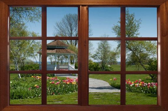 Fenster geschlossen clipart  Wand Wandbild Fenster selbstklebend Pavillon Garten