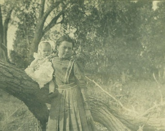 Dale and Jenna Antique RPPC Girl Baby Boy by Bridge Sitting on Tree 1910 Vintage Photo Black and White Photograph