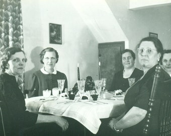 1941 Women Sitting Around A Table Elegant Dinner Table Candles Lit 1940s Vintage Black and White Photo Photograph