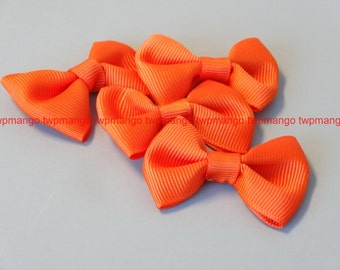 10(ten) Grosgrain Ribbon Bow Applique Orange EA79-3