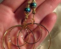 """Big Gold Peacock Bead Hoop Earrings 3"""" or Choose Clip On Hoops"""