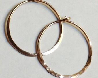 Rose Gold Hoop Earrings   14K Gold Filled Rose Gold Hoop Earrings   14K Gold Filled Hoops   Gold Earrings   1 Inch Diameter Hoop Earrings