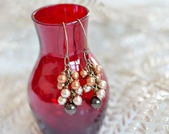 Fall Swarovski Pearl Cluster Earrings