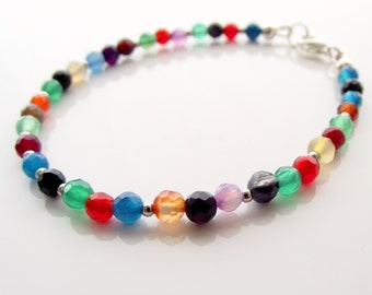 agate beaded stacking bracelet, stacking bracelet, multi colored bracelet
