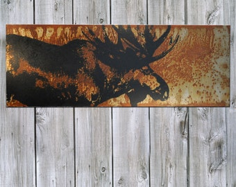 Moose on Rusted Metal- FREE SHIPPING