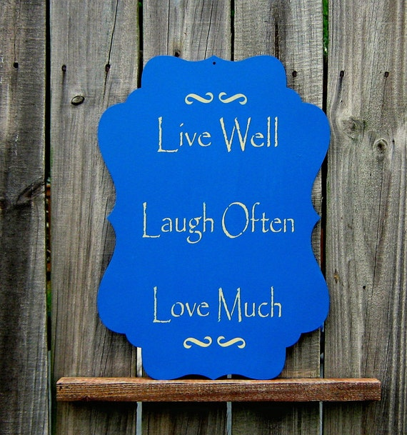 live well laugh often love much sign family friends love country blue tan lettering. Black Bedroom Furniture Sets. Home Design Ideas