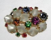 Signed Austria Rhinestone Brooch Vintage Austrian Multicolored Flower Satin Glass Petals