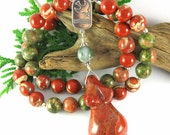 Peace on Earth Begins With Birth - Red Jasper & Unakite Birth Beads - Prayer Beads for Fertility, Pregnancy and Birth