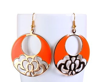 Gold flower and orange dangle earrings (763) - Flat rate shipping