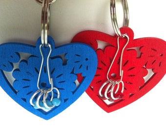 Knitting , project bag charm , stitch markers, - SWEDISH HEART