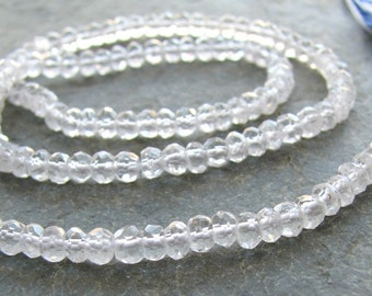 Sparkling Crystal Quartz micro faceted rondelles. 14 inch FULL strand (11m27)