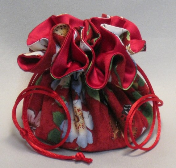 Jewelry Tote---Drawstring Organizer Pouch---Butterfly Floral Garden Design---Medium Size
