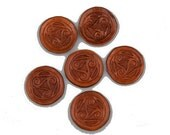 Small celtic triskelion brown leather embossed and carved piece applique larp reenactment sca