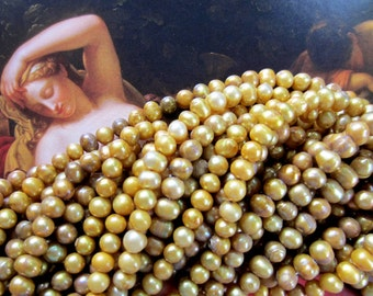 Pearls freshwater antique gold 15 inch strand rustic organic pearl beads 6mm SppB Mermaids dream