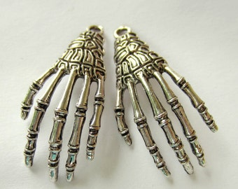 6 Skeleton hand pendants antique silver goth skeleton claw  halloween jewelry 43mm x 18mm A1960
