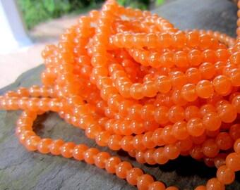60 Apricot Orange glass beads 6mm jewelry making supply  round beads A020-6mm-04