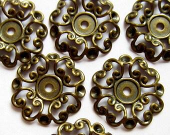 18 Brass Cabochon settings antique bronze jewelry pendant 24mm x 2mm  B548