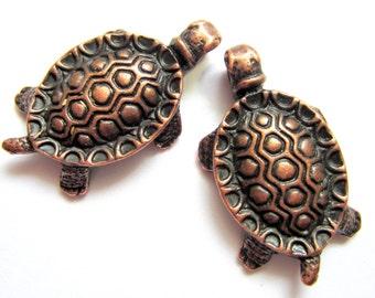 8 Turtle charms antique copper tortoise pendants 32mm x 18mm 6058 SR3-3-4