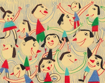 Enjoy with friends / ORIGINAL ILLUSTRATION / Children decor / kids art / House view / Cyan / Happy kids -Original Pencil Drawing