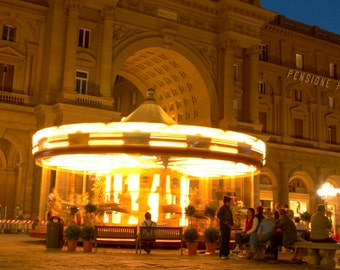 Carousel Photography Italy Photograph Florence Photo Night Print Neutral Colors  Beige ita104
