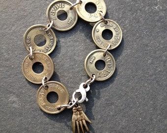 Vintage Brass Trade Tokens Hand Amulet Bracelet