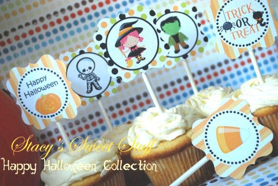 DIY Printable Halloween Cupcake Toppers, INSTANT DOWNLOAD