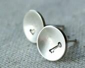 Heart and Key Earrings Sterling Silver Key to my Heart Earrings