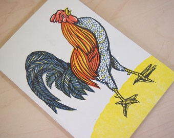 Rooster Woodcut Card