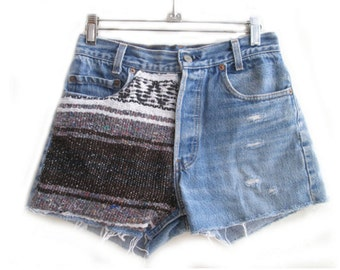 vintage levis navajo shredded shorts with navajo patch sz 27 US