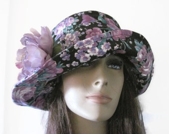 Black Purple White Cloche Hat Women