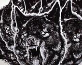 Wolf Sticker Vinyl, uv safe ink. 4.5 inches X 3in.