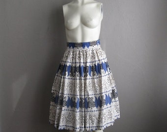 50s cotton FOLKLORIC full skirt size small XS