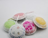 Felt Ornaments - Home Decor - Pincushions - Colorful - Hand Sewn - Embroidered - Pastels