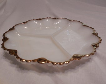 Divided White Milk GLASS SERVING PLATE With Gold Trim