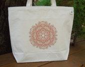 Natural cotton market tote   -   Large canvas tote - Reusable shopping bag  -  Mandala