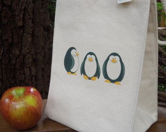 Recycled cotton lunch bag - Canvas lunch bag - Small project bag - Penguins