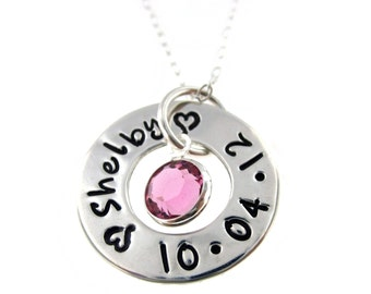 Petite One Circle of Love - Name and Date with Birtstone...  Hand Stamped Jewelry ByHannahDesign