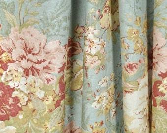 Pair of designer rod pocket drapes, panels Waverly Ballad Bouquet Robins Egg blue