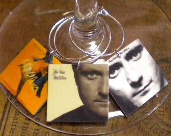 6 Phil Collins Album Cover Wine Charms for Music/Wine Lover 'YOUR wine glasses deserve Cool SASSY Jewelry' Fast Ship Great Gift for your BFF